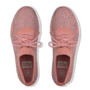 F-Sporty Uberknit Metalic Dusky Pink/Soft Grey Crystal Sneakers