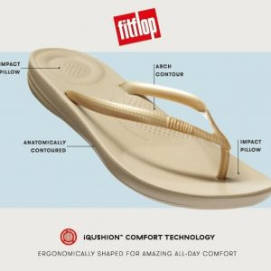 iQushion Ergonomic Flip Flop Sparkle Urban White