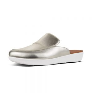 Serene Metallic Silver Leather Slide in shoe