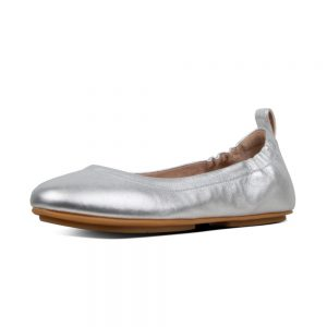 FitFlop Allegro Ballerina Silver leather shoe.