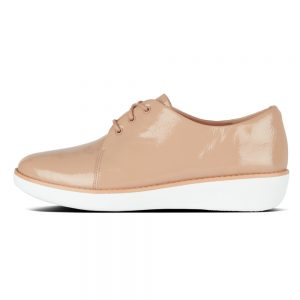 Derby Crinkle Patent Taupe Shoe
