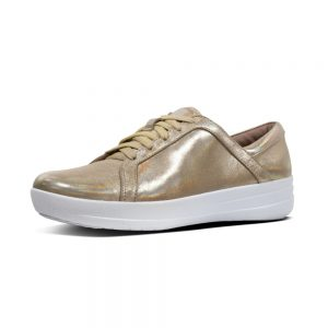 F Sporty II Leather Sneaker Metallic Gold
