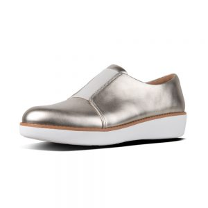 Derby Laceless Metallic Silver Leather Shoe