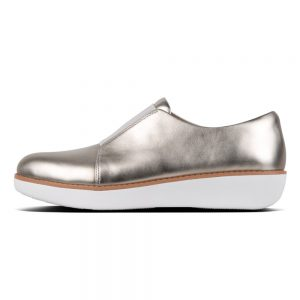 FitFlop Derby Laceless Metallic Silver Leather Shoe