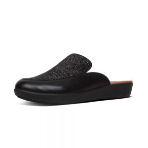 Serene Crystalled Black Slide in shoe