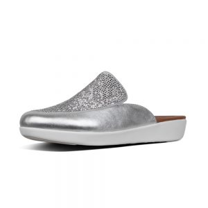 FitFlop Serene Crystalled Silver Leather Slide in shoe.
