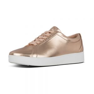 Rally Sneaker in metallic Rose gold.