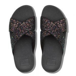 Lulu Glitter Slide Black