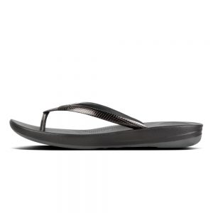 FitFlop iQushion Ergonomic Flip Flop Mirror Pewter