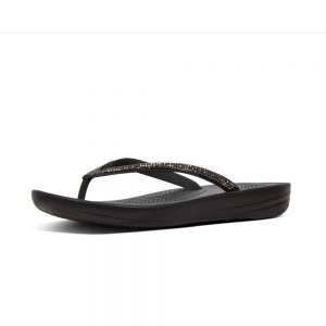 iQushion Ergonomic Flip Flop Sparkle Black