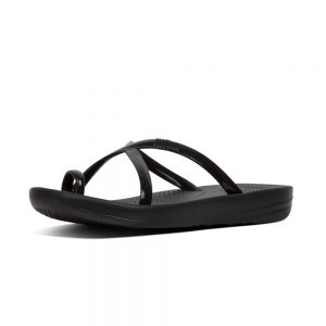 iQuishion Wave Flip Flop Black Pearlised