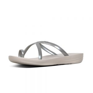 iQuishion Wave Flip Flop metalic Silver Pearlised