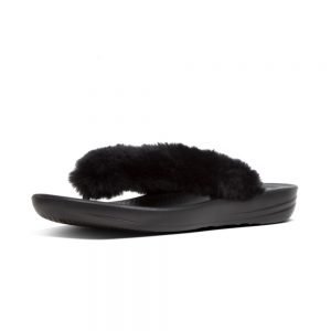 iQushion Fluffy Flip Flop Black
