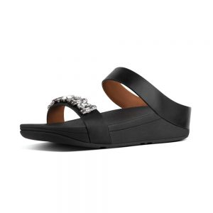 Fino Bejewelled Black Slide