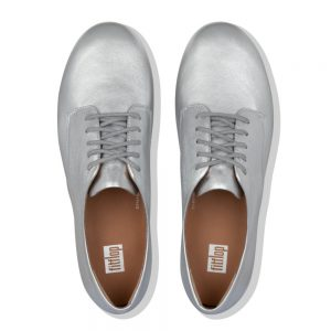 FitFlop Adeola Leather Lace-up Derby Silver
