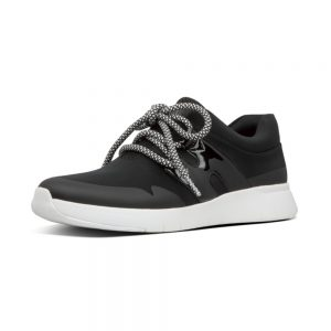 Anni Flex Black Lycra and Leather Sneaker