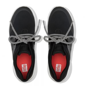 FitFlop Anni Flex Black Lycra and Leather Sneaker