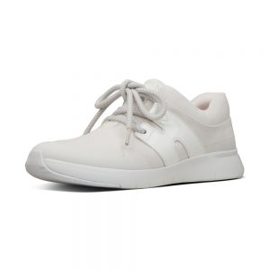FitFlop Anni Flex White Lycra and Leather Sneaker