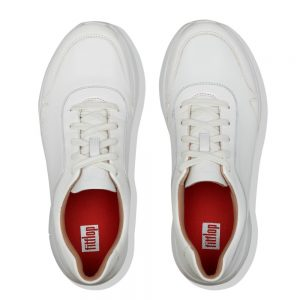 FitFlop Ida Flex White Leather and Patent Upper Sneaker