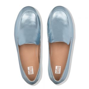 Lena Leather Loafers Metalic Ice Blue