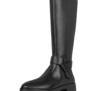 Knot Knee High leather Boot Black