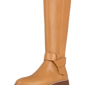 Knot Knee High leather Boot Mustard