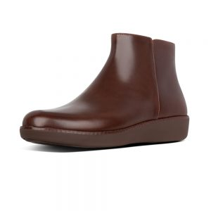 FitFlop Ziggy Zip Ankle leather Boot Choc Brown