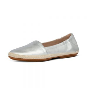 SIREN LEATHER ESPADRILLES SILVER