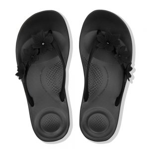 iQushion Ergonomic Flip Flop Floral Black
