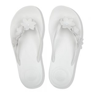 FitFlop iQushion Ergonomic Flip Flop Floral Urban White