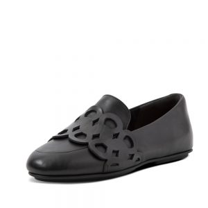 Lena Leather Entwined Loop Loafer Black.