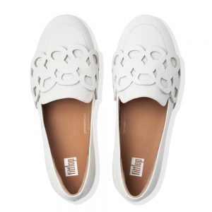 Lena Leather Entwined Loop Loafer Bright White