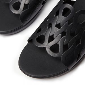 FitFlop Elodie Black Swirl entwined loops Leather Sandal