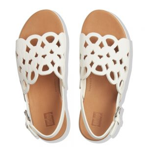 Elodie White Swirl entwined loops Leather Sandal