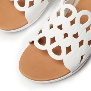 FitFlop Elodie White Swirl entwined loops Leather Sandal