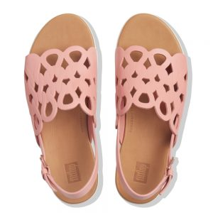 FitFlop Elodie Rose Tan Swirl entwined loops Leather Sandal