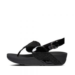 FitFlop PAISLEY GLITTER ROPE SANDAL BLACK