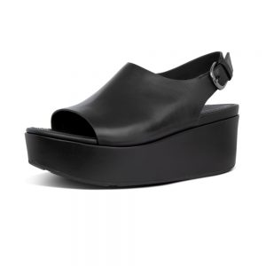 FitFlop ELOISE  LEATHER SANDAL -CITY WEDGE – ALL BLACK