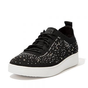 FitFlop Rally Ombre Crystal Knit Black Sneakers