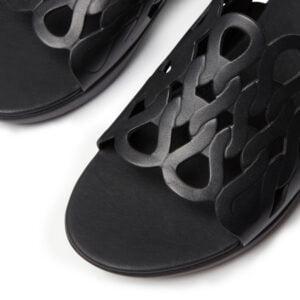 Elodie Entwined Loops Black Sandals