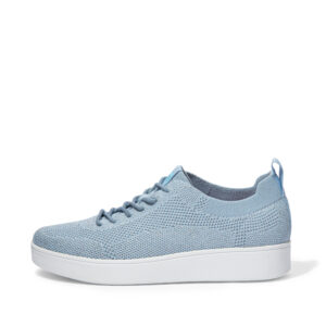 FitFlop Rally Tonal Knit Pale Blue Silver Sneakers